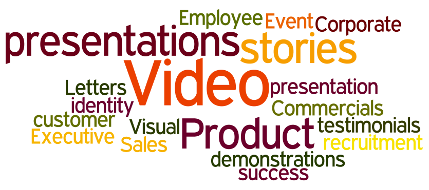 Video Sales Letters  Video customer testimonials  Video success stories  Product presentations  Product demonstrations  Visual stories  Corporate identity  Executive presentations  Event presentation  Employee recruitment  Commercials